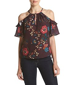 Eyeshadow® Floral Woven Cold Shoulder Top
