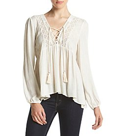 Skylar & Jade™ Textured Lace Up Peasant Top