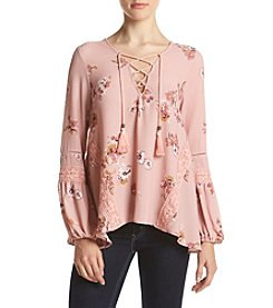 Skylar & Jade™ Floral Lace Up Peasant Top