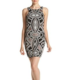 Speechless® Art Deco Pattern Beaded Bodycon Dress