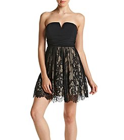 Speechless® Notchneck Lace Skirt Party Dress