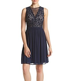 Morgan & Co.® Glitter Lace Bodice Party Dress