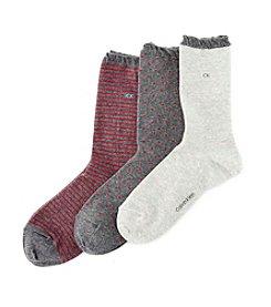 Calvin Klein 3-Pack Dot And Striped Crew Socks