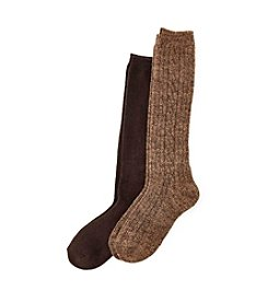 Relativity® 2-Pack Cable Rib Knee Socks