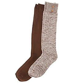 Relativity® 2-Pack Chevron With Button Socks
