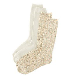 Relativity® 2-Pack Cream Fleck Yarn Cable Mid-Calf Socks