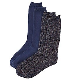 Relativity® 2-Pack Blue/Gray Fleck Yarn Cable Mid-Calf Socks