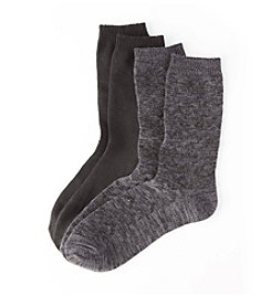 Relativity® 2-Pack Gray Chevron Texture Crew Socks