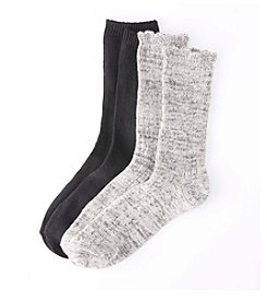 Relativity® 2-Pack Gray Ruffle Crew Socks