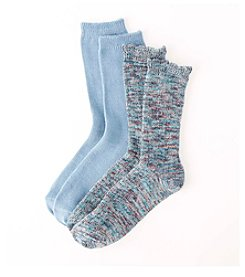 Relativity® 2-Pack Blue Ruffle Crew Socks