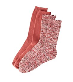 Relativity® 2-Pack Red Ruffle Crew Socks