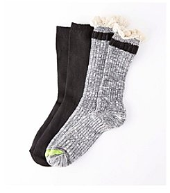Relativity® 2-Pack Lace Top Crew Socks
