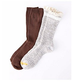 Relativity® 2-Pack Brown/Gray Lace Top Crew Socks