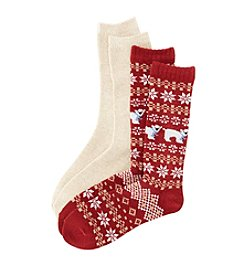 Relativity® Polar Bear Fairisle Mid-Calf Sock