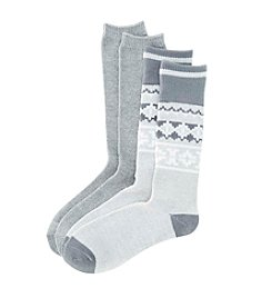 Relativity® 2-Pack Gray Nordic Fair Isle Crew Socks