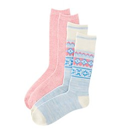 Relativity® 2-Pack Nordic Fair Isle Crew Socks