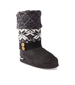 MUK LUKS Snowflake Trim Lattice Slippers