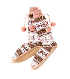 MUK LUKS Pattern Slipper Socks