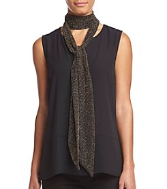 Collection 18 Metallic Knit Geo Skinny Neck Wrap