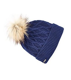 Steve Madden Cable Knit Cuff Pom Hat