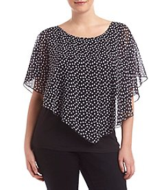 AGB® Plus Size Polka Dot Print Popover Top