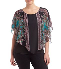 AGB® Plus Size Printed Popover Top