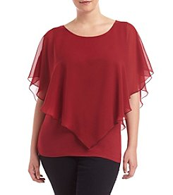 AGB® Plus Size Solid Popover Top