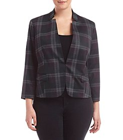 Nine West® Plus Size Plaid Kiss Front Jacket