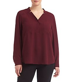 Nine West® Plus Size Solid Two Pocket Top