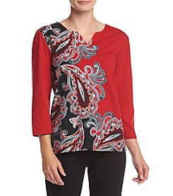 Alfred Dunner® Wrap It Up Asymmetrical Paisley Knit Top