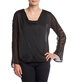 AGB® Cross Front Top With Lace Shoulders