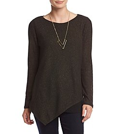AGB® Asymmetric Hem Sweater With Necklace