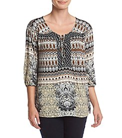 Oneworld® Tier Parade Print Peasant Top