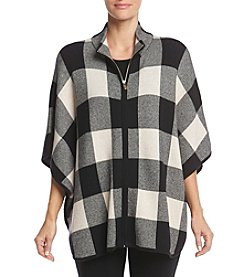 Jones New York® Plaid Poncho Sweater