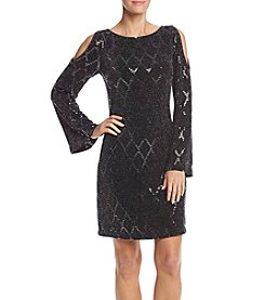 Jessica Howard® Long Sleeve Cold Shoulder Sparkle Dress