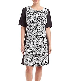 Connected® Plus Size Jacquard Knit Panel Dress
