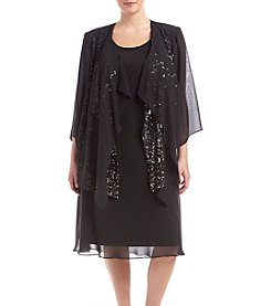 S.L. Fashions Plus Size Jacket Dress With Sequins