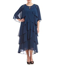 S.L. Fashions Plus Size Chiffon Jacket Dress With Beads
