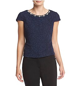 Eliza J® Embellished Neck Cap Sleeve Top