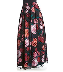 Eliza J® Floral Dot Background Long Skirt