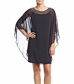Xscape Flutter Sleeve Chiffon Overlay Dress
