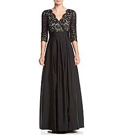 Eliza J® Tafetta Lace Top Gown