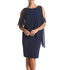Adrianna Papell® Navy Beaded Drape Top Dress