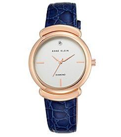 Anne Klein® Diamond Dial and Navy Croco Leather Strap Watch