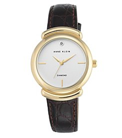 Anne Klein® Diamond Dial and Dark Brown Croco Leather Strap Watch