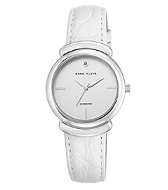 Anne Klein® Diamond Dial and White Leather Strap Watch