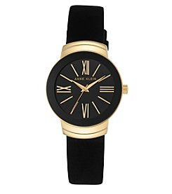 Anne Klein® Goldtone and Black Suede Leather Strap Watch