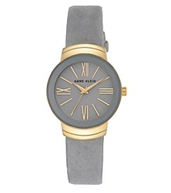 Anne Klein® Goldtone and Grey Suede Leather Strap Watch