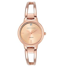Anne Klein® Rose Goldtone Open Link Diamond Dial Bangle Watch