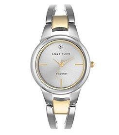 Anne Klein® Two-Tone Open Link Diamond Dial Bangle Watch